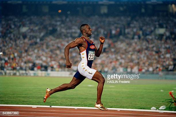 Michael Johnson from USA during the men's 200meter final of the 1996 Olympics In this race Johnoson broke the 200 meters world record with a time of...