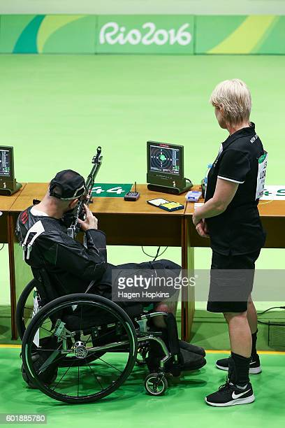 Michael Johnson of New Zealand competes in the R4 Mixed 10m Air Rifle Standing SH2 qualification round on day 3 of the Rio 2016 Paralympic Games at...