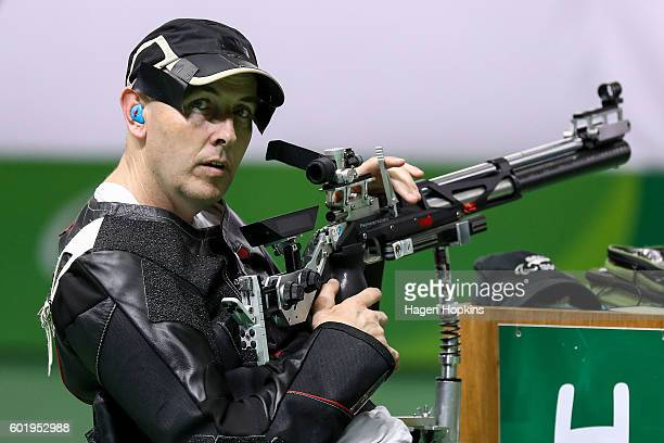 Michael Johnson of New Zealand competes in the R4 Mixed 10m Air Rifle Standing SH2 final on day 3 of the Rio 2016 Paralympic Games at Olympic...