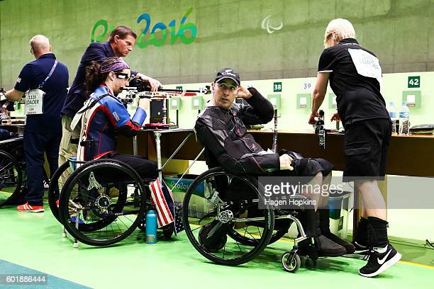 Michael Johnson of New Zealand looks on after competing in the R4 Mixed 10m Air Rifle Standing SH2 qualification round on day 3 of the Rio 2016...