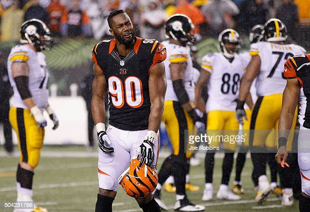 Michael Johnson of the Cincinnati Bengals reacts to a penalty called against the Cincinnati Bengals in the fourth quarter against the Pittsburgh...