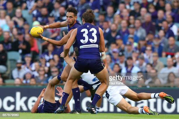 Michael Johnson of the Dockers handballs during the round one AFL match between the Fremantle Dockers and the Geelong Cats at Domain Stadium on March...