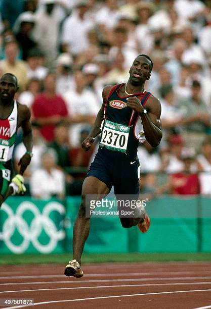 Michael Johnson of the United States en route to winning the gold medal in the men's 200 metres event during the Summer Olympic Games in Atlanta...