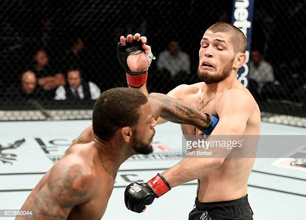 Michael Johnson of the United States fights against Khabib Nurmagomedov of Russia in their lightweight bout during the UFC 205 event at Madison...