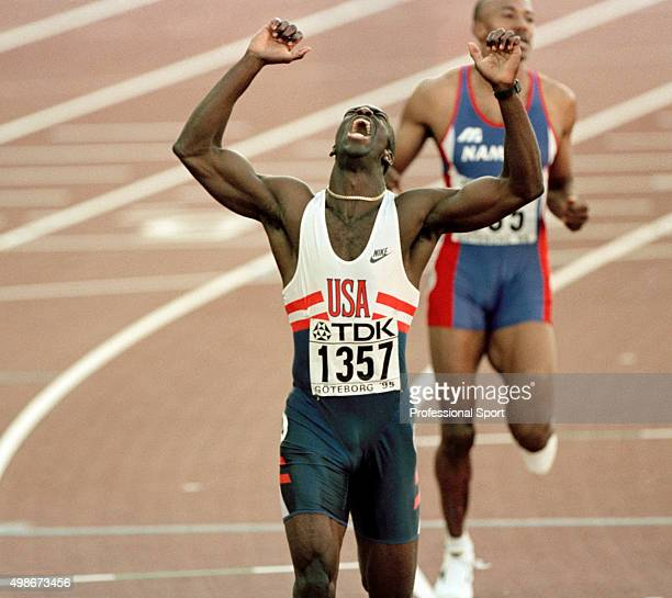 Michael Johnson of the United States wins the men's 400 metres event during the World Athletics Championships in Gothenburg Sweden circa August 1995