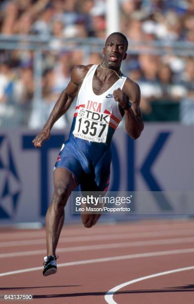 Michael Johnson of the USA enroute to winning the men's 200 metres final during the World Athletics Championships in Gothenburg Sweden circa August...