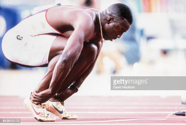 Michael Johnson of the USA prepares to run a quarterfinal race of the Men's 400 meter event of the Athletics Competition of the 1996 Summer Olympics...