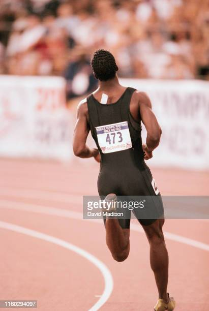 Michael Johnson of the USA runs a preliminary round of the Men's 400 meter event of the 2000 USA Track and Field Olympic Trials held on July 14, 2000...