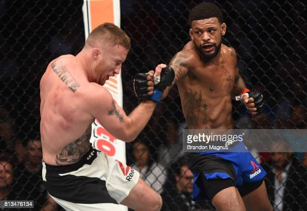 Michael Johnson punches Justin Gaethje after their lightweight bout during The Ultimate Fighter Finale at T-Mobile Arena on July 7, 2017 in Las...