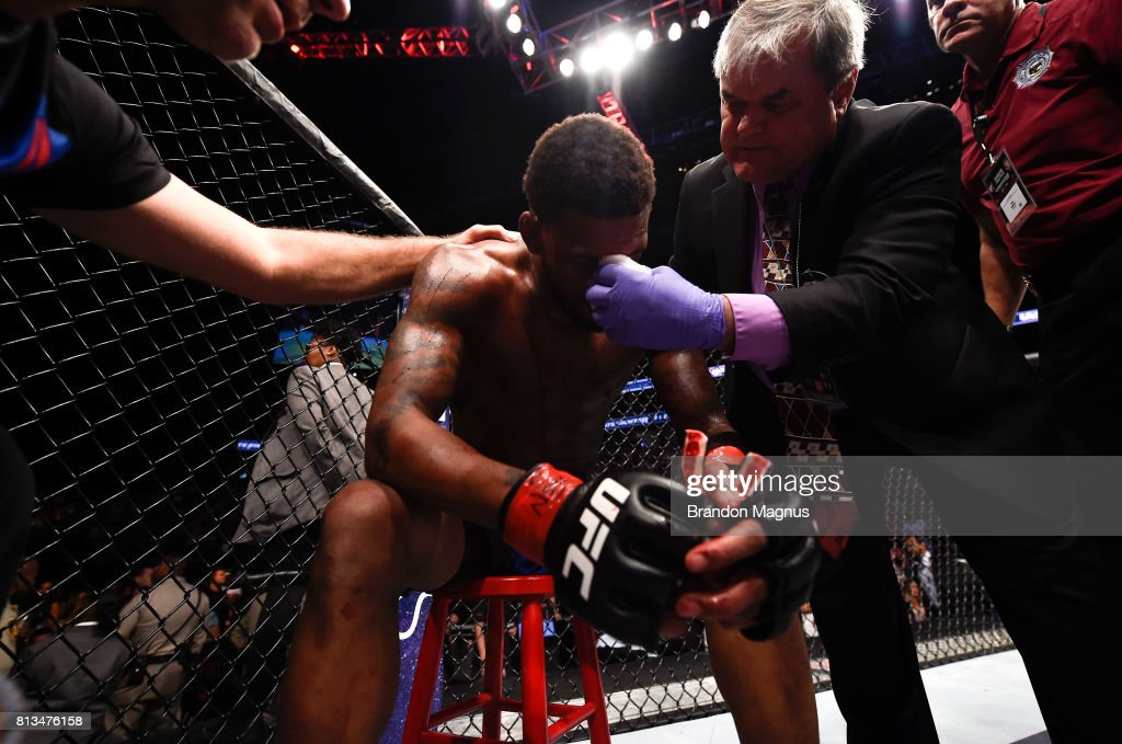 Michael Johnson reacts to his loss to Justin Gaethje after their lightweight bout during The Ultimate Fighter Finale at T-Mobile Arena on July 7, 2017 in Las Vegas, Nevada.