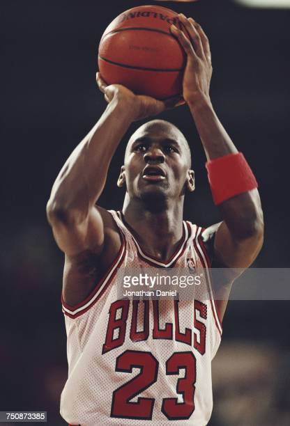 Michael Johnson shooting guard for the Chicago Bulls prepares to make a shot during a Central Division game in the Eastern Conference of the National...