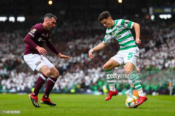 Michael Johnston of Celtic and Michael Smith of Hearts during the William Hill Scottish Cup final between Heart of Midlothian and Celtic at Hampden...