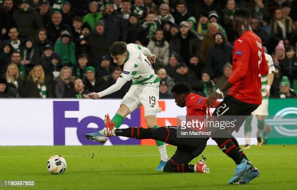 Michael Johnstone of Celtic scores his sides third goal during the UEFA Europa League group E match between Celtic FC and Stade Rennes at Celtic Park...