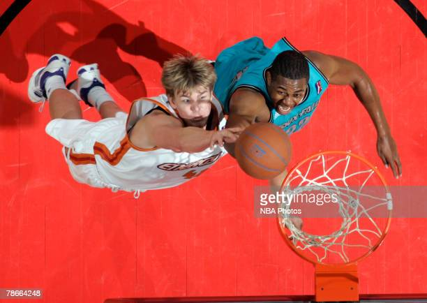 Michael Joiner right of the Sioux Falls Skyforce goes for a rebound against Nick Lewis left of the Iowa Energy in the second half of the Iowa Energy...