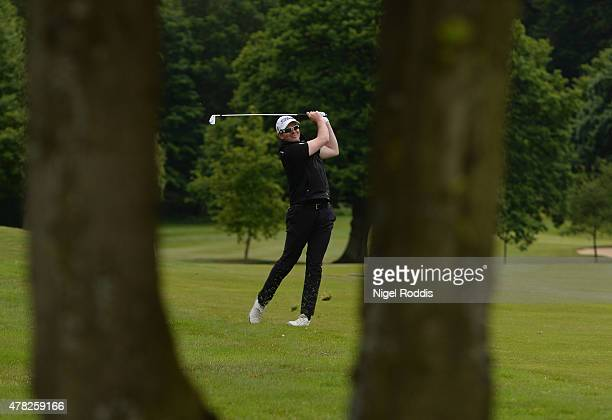 Michael Jones in action during the Golfbreakscom PGA Fourball Championship North Qualifier at Woodsome Hall Golf Course on June 24 2015 in...