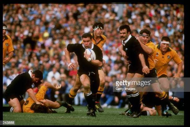 Michael Jones of New Zealand runs with the ball during the Bledisloe Cup game against Australia New Zealand won the game 63