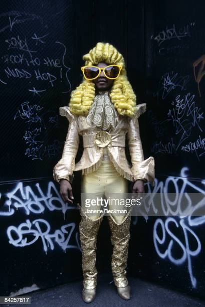 Michael Jonzun musician and electrofunk pioneer founded The Jonzun Crew in the early 1980s He poses here in New York City dressed in an outrageous...