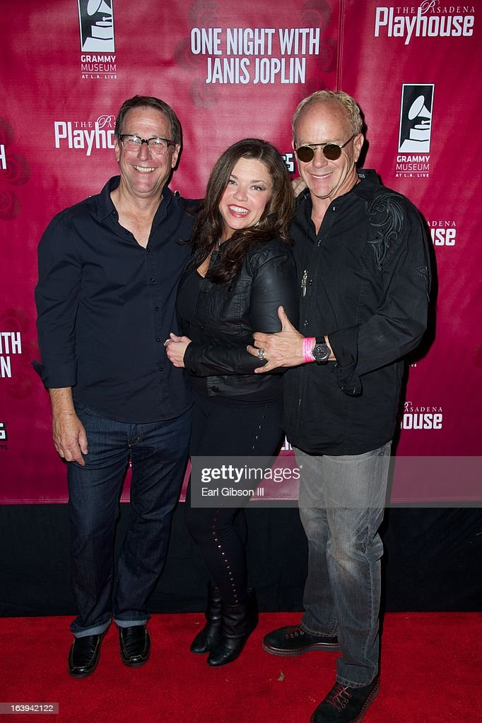Michael Joplin, Mary Bridget Davies and Randy Johnson pose for a photo after the Opening Night Performance of 'One Night With Janis' at Pasadena Playhouse on March 17, 2013 in Pasadena, California.
