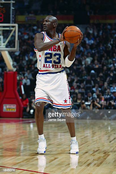 Michael Jordan of the Eastern Conference All-Stars looks to pass at the 2003 NBA All-Star Game on February 9, 2003 at Philips Arena in Atlanta,...