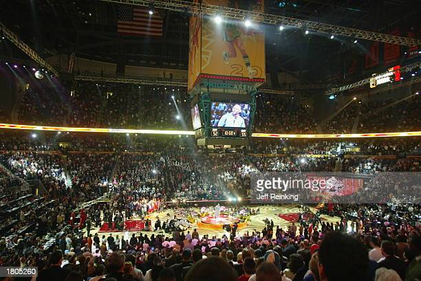 Michael Jordan addresses the crowd at halftime of the 2003 NBA AllStar game during the 2003 NBA AllStar weekend at the Philips Arena on February 9...