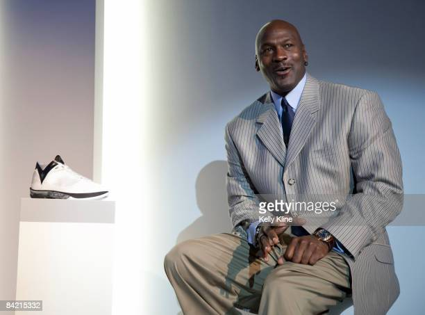Michael Jordan addresses the media during the launch of the Air Jordan 2009 at The Event Space on January 8 2009 in New York City
