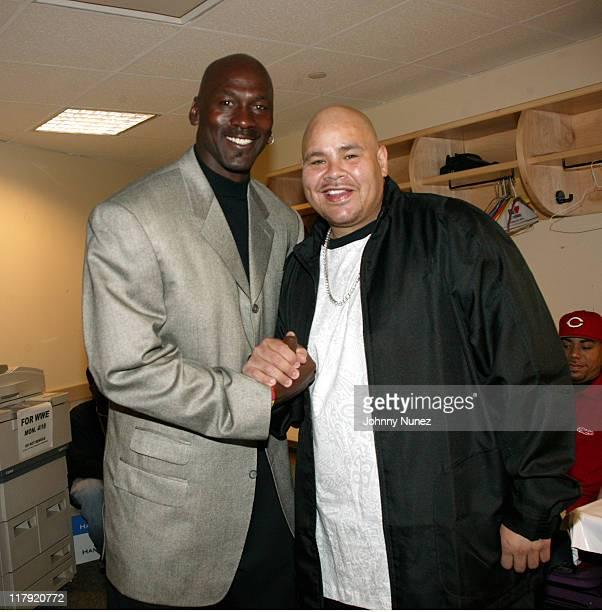 Michael Jordan and Fat Joe during 2005 Michael Jordan Classic Basketball Game April 16 2005 in New York City New York United States
