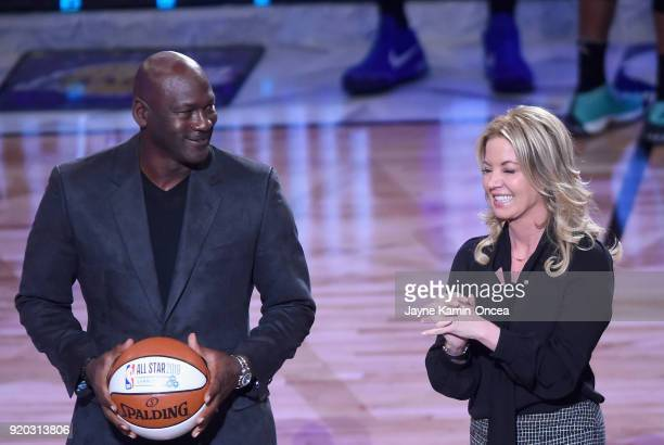 Michael Jordan and Jeanie Buss speak during the NBA AllStar Game 2018 at Staples Center on February 18 2018 in Los Angeles California