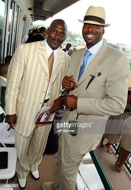 Michael Jordan and John Salley hang out in the Jockey Suites at the 133rd running of the Kentucky Derby at Churchill Downs on May 5 2007 in...