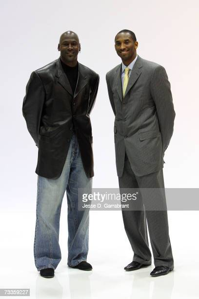 Michael Jordan and Kobe Bryant of the Los Angeles Lakers pose for a portrait on AllStar Saturday Night during the NBA AllStar Weekend on February 17...