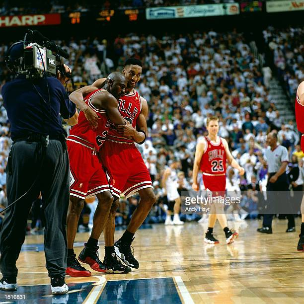 Michael Jordan and Scottie Pippen of the Chicago Bulls celebrate after winning game five of the 1997 NBA Finals against the Utah Jazz on June 11 1997...