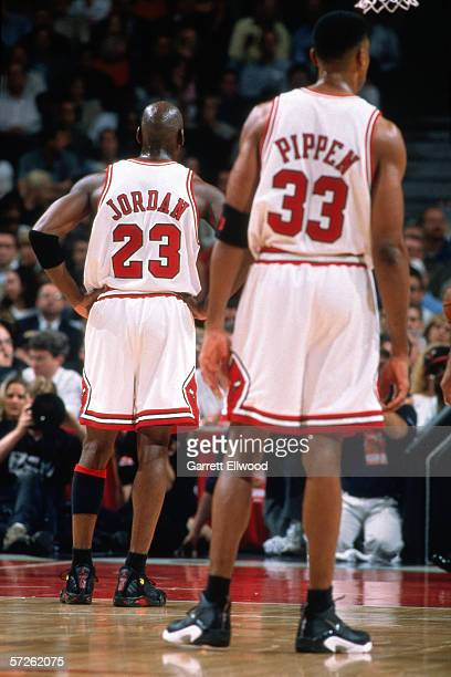 Michael Jordan and Scottie Pippen of the Chicago Bulls during game four of the 1998 NBA Finals against the Utah Jazz at Chicago Stadium on June 10...