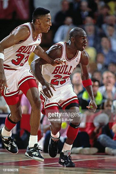 Michael Jordan and Scottie Pippen of the Chicago Bulls in action during a game played circa 1989 at Chicago Stadium in Chicago Illinios NOTE TO USER...