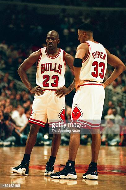 Michael Jordan and Scottie Pippen of the Chicago Bulls talk during the game against the Atlanta Hawks on May 13 1997 at The Omni Coliseum in Atlanta...