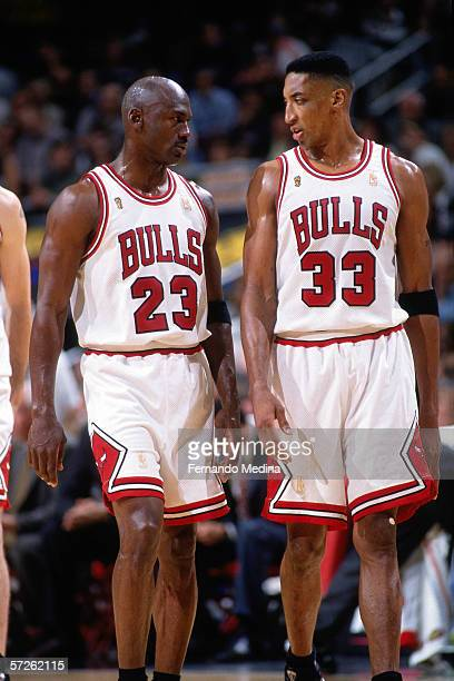 Michael Jordan and Scottie Pippen of the Chicago Bulls talk things over during game one of the 1997 NBA Finals against the Utah Jazz at Chicago...