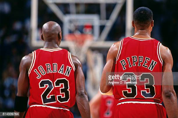 Michael Jordan and Scottie Pippen of the Chicago Bulls walk against the Miami Heat on April 2 1996 at Miami Arena in Miami Florida NOTE TO USER User...