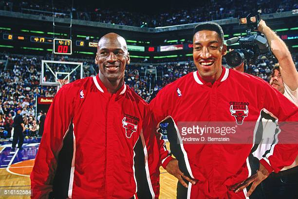 Michael Jordan and Scottie Pippern of the Chicago Bulls smile against the Phoenix Suns on February 6 1996 at the America West Arena in Phoenix...