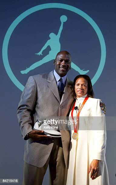Michael Jordan and Team Jordan athlete April Holmes reveal the Air Jordan 2009 to the world at press event at The Event Space on January 8 2009 in...