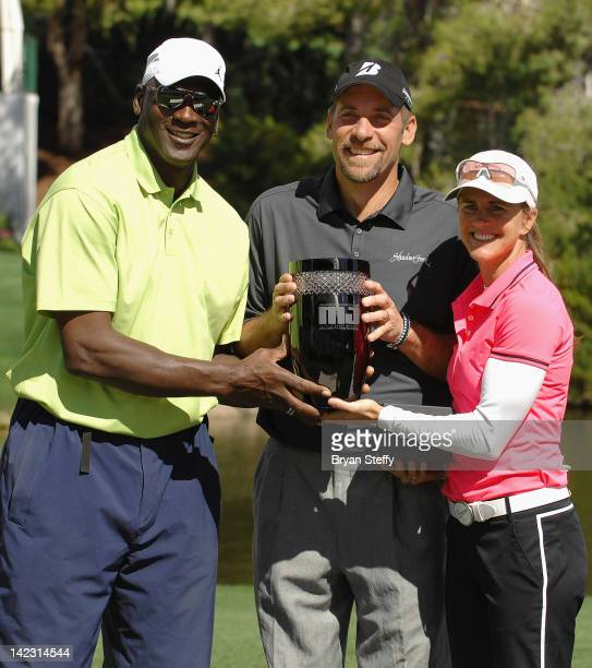 Michael Jordan and the 11th Annual Michael Jordan Celebrity Invitational winners John Smoltz and Brandi Chastain appear at the 11th Annual Mihael...