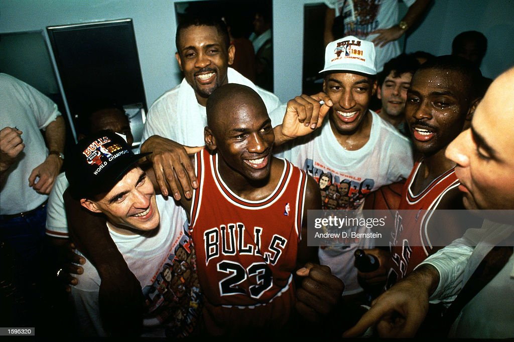 Michael Jordan #23 and the Chicago Bulls celebrate after winning the 1991 NBA Championship against the Los Angeles Lakers after Game 5 of the NBA Finals on June 12, 1991 at the Great Western Forum in Inglewood, California.