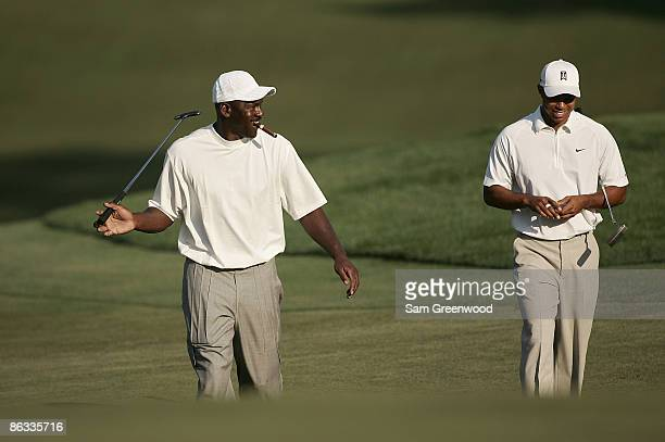 Michael Jordan and Tiger Woods during the ProAm prior to the 2007 Wachovia Championship held at Quail Hollow Country Club in Charlotte North Carolina...