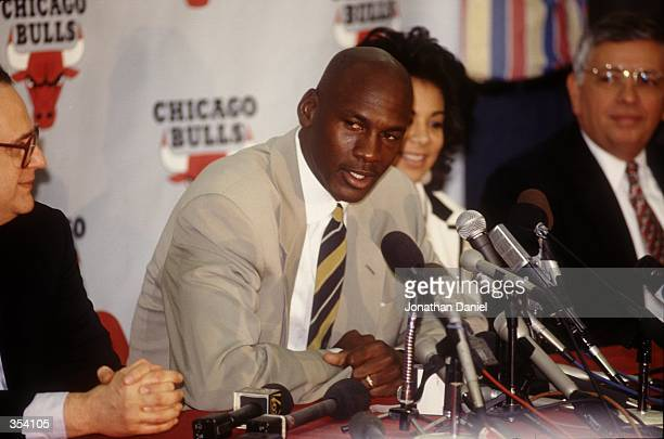 Michael Jordan answers questions at the press conference announcing his retirement from the NBA Mandatory Credit Jonathan Daniel/ALLSPORT