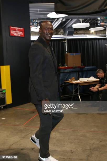Michael Jordan arrives to the arena prior to the NBA AllStar Game as a part of 2018 NBA AllStar Weekend at STAPLES Center on February 18 2018 in Los...