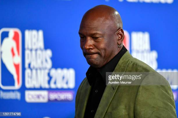 Michael Jordan attends a press conference before the NBA Paris Game match between Charlotte Hornets and Milwaukee Bucks on January 24, 2020 in Paris,...