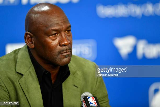 Michael Jordan attends a press conference before the NBA Paris Game match between Charlotte Hornets and Milwaukee Bucks on January 24 2020 in Paris...