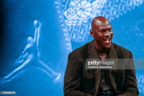 Michael Jordan attends a press conference for the celebration of the 30th anniversary of the Air Jordan Shoe during the 'Palais 23' interactive...
