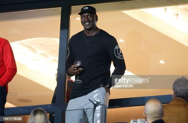 Michael Jordan attends the french Ligue 1 match between Paris Saint-Germain and Stade de Reims at Parc des Princes stadium on September 26, 2018 in...