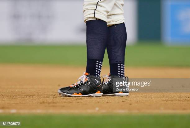 Michael Jordan baseball cleats are worn by Miguel Cabrera of the Detroit Tigers during game two of a doubleheader against the Cleveland Indians at...