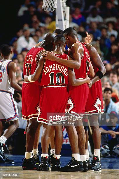 MIchael Jordan BJ Armstrong and the Chicago Bulls huddle against the New York Knicks circa 1991 at Madison Square Garden in New York NOTE TO USER...