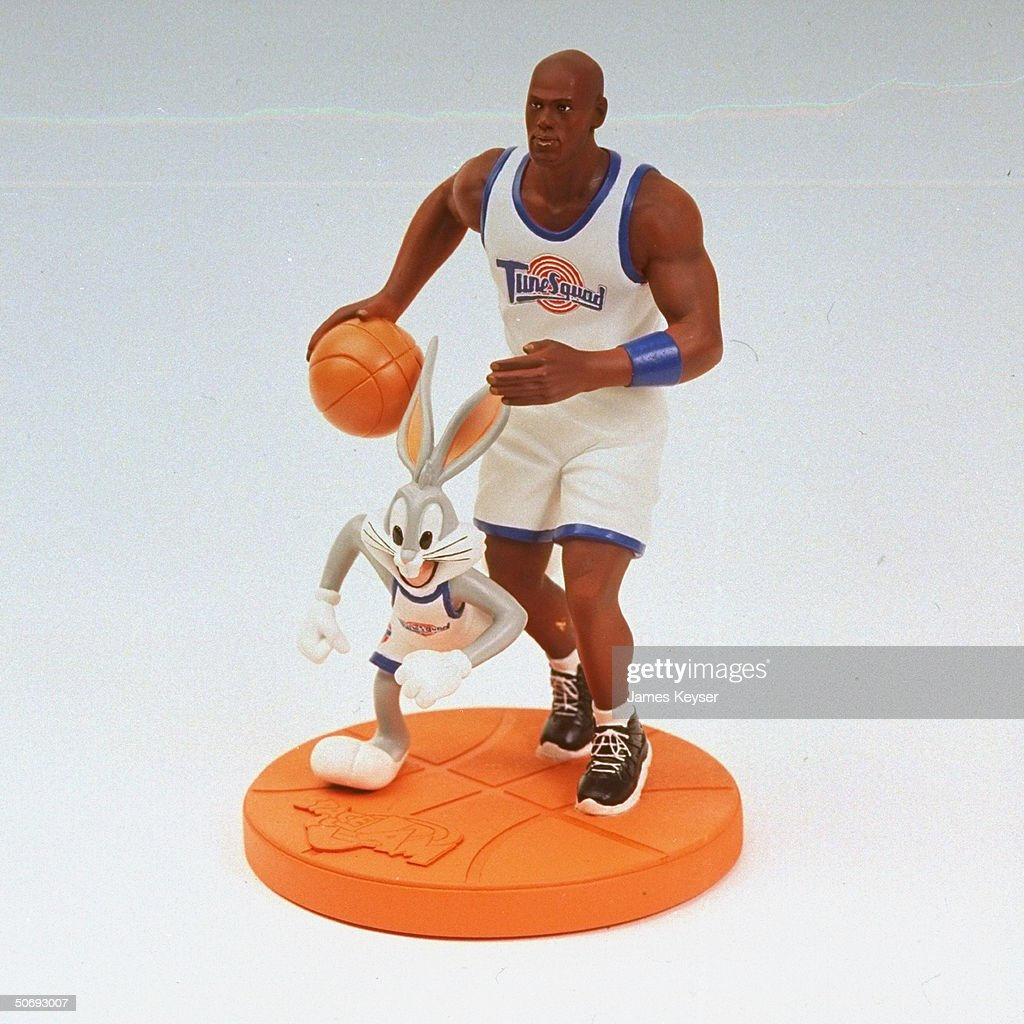 Michael Jordan & Bugs Bunny pedestal figurines based on roles of basketball star & cartoon character in new Warner Bros. movie Space Jam.