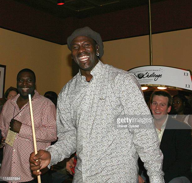Michael Jordan during Boost Mobile Presents ZO and Magic's 8 Ball Challenge Celebrity Pool Tournament at Jillians in Houston Texas United States